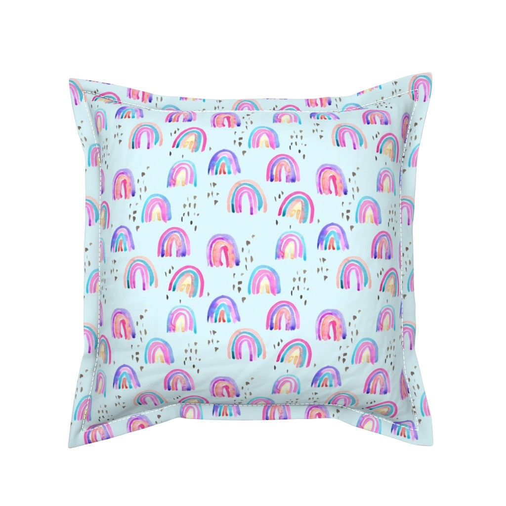 Serama Throw Pillow featuring rainbows in the sky by erinanne