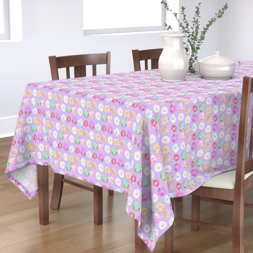Bantam Rectangular Tablecloth featuring donuts multi on purple by erinanne