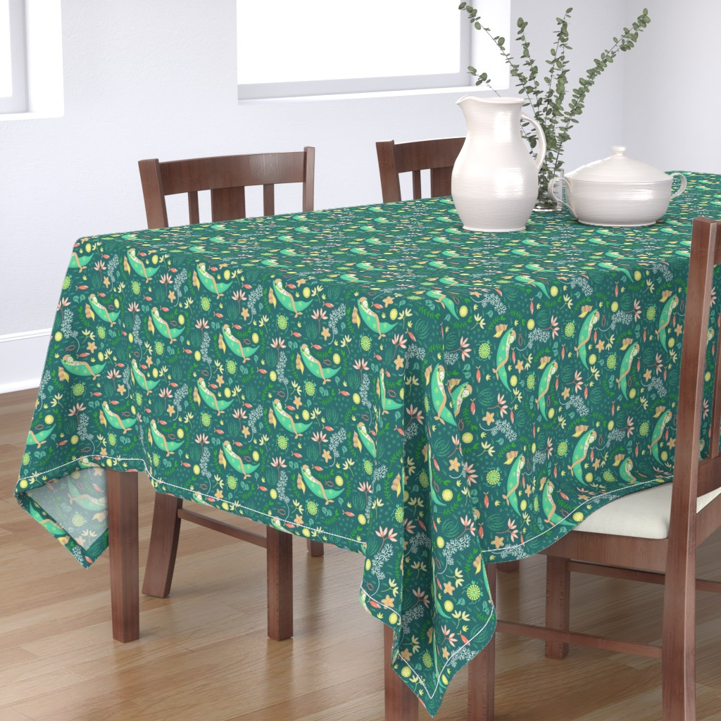 Bantam Rectangular Tablecloth featuring Miss Mermaid's Bedtime by susan_polston