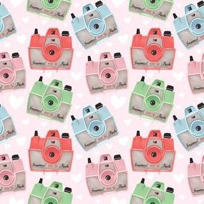 Vintage Cameras - Pink - Small