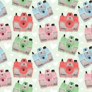 Vintage Cameras - Green - Small
