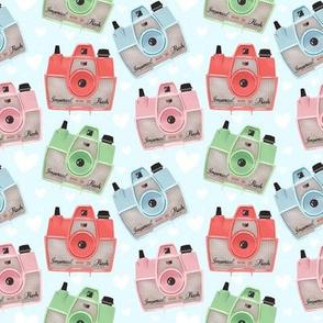 Vintage Cameras - Blue - Small