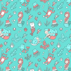 Mermaids & cats. Funny catmaid, cat diver and jellycat fish pattern design.