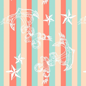 not all who wander are lost CORAL STRIPE