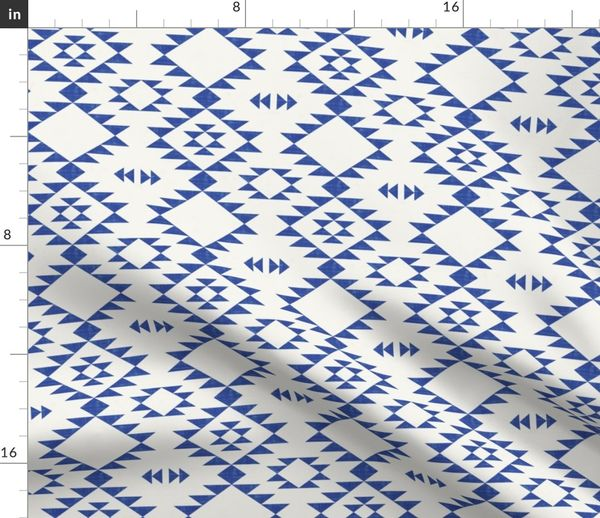 Fabric by the Yard Navajo -Texture Blue Off White