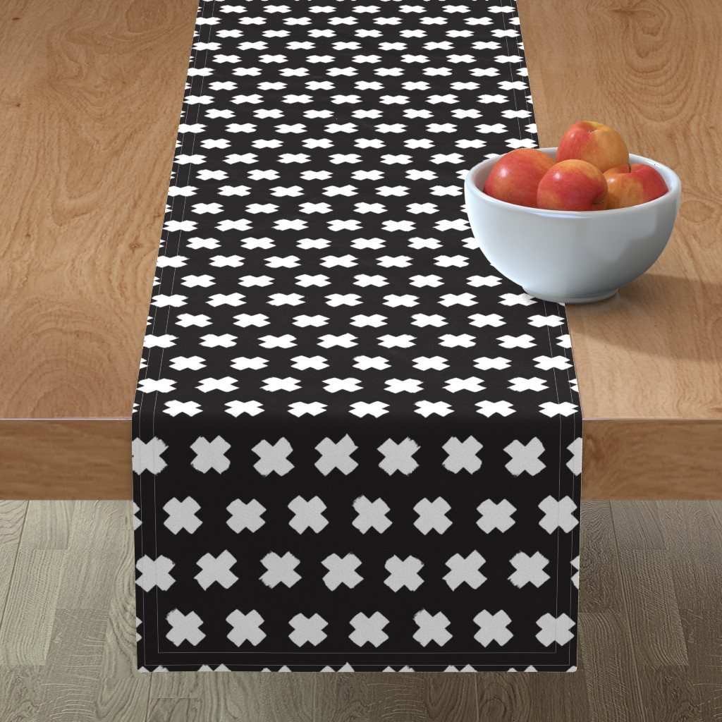 Minorca Table Runner featuring Black and white cross and abstract plus sign geometric grunge brush strokes scandinavian style print by littlesmilemakers