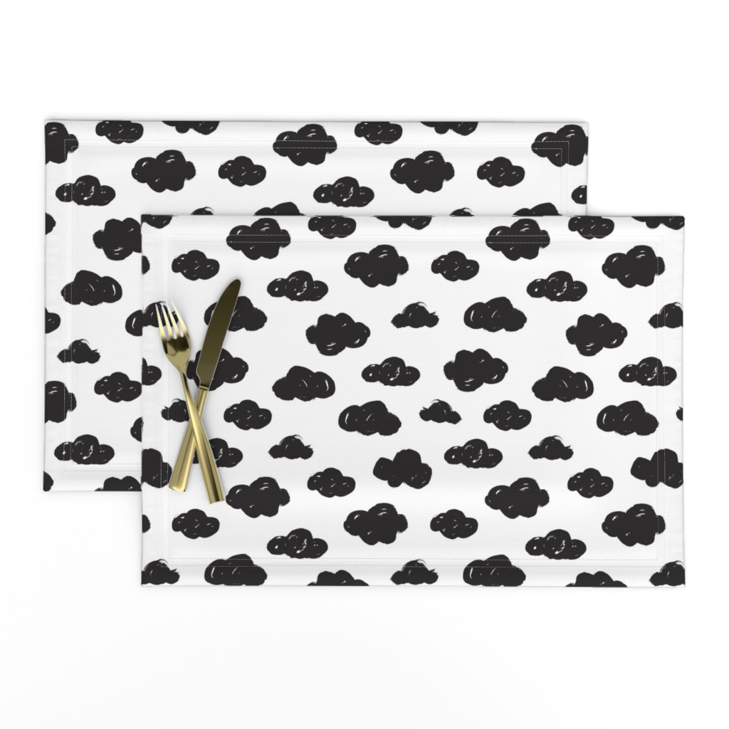 Lamona Cloth Placemats featuring Black clouds black and white abstract geometric gender neutrals prints for kids by littlesmilemakers