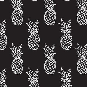 Hot summer pineapple black and white trendy illustration tropical fruit print