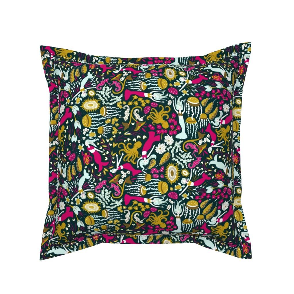 Serama Throw Pillow featuring Midnight Mermaid Sea Garden by angelastevens