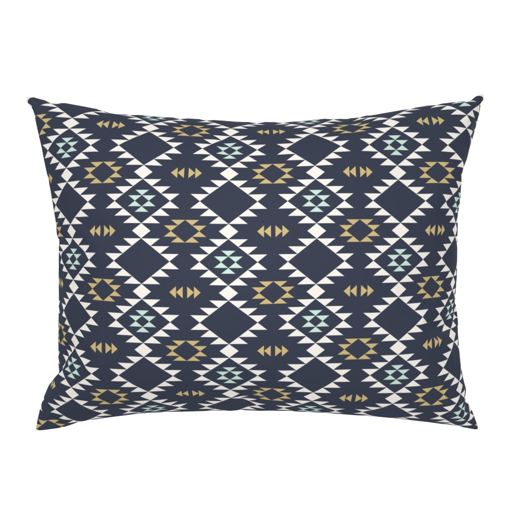 Campine Pillow Sham featuring Navajo - Dark Blue Mint Gold by kimsa