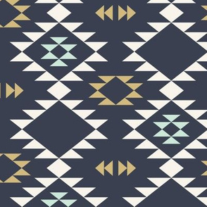 Navajo - Dark Blue Mint Gold