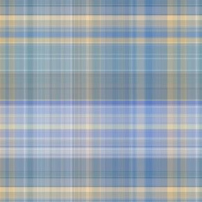 Blue Gray and Yellow Madras Style Plaid