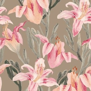 lilly garden watercolor -brown