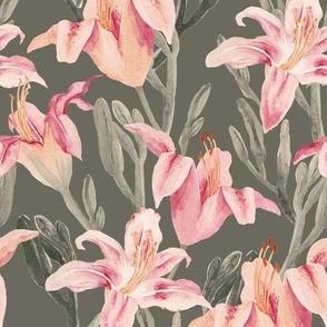 lilly garden watercolor-kaki