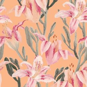 lilly garden watercolor-orange