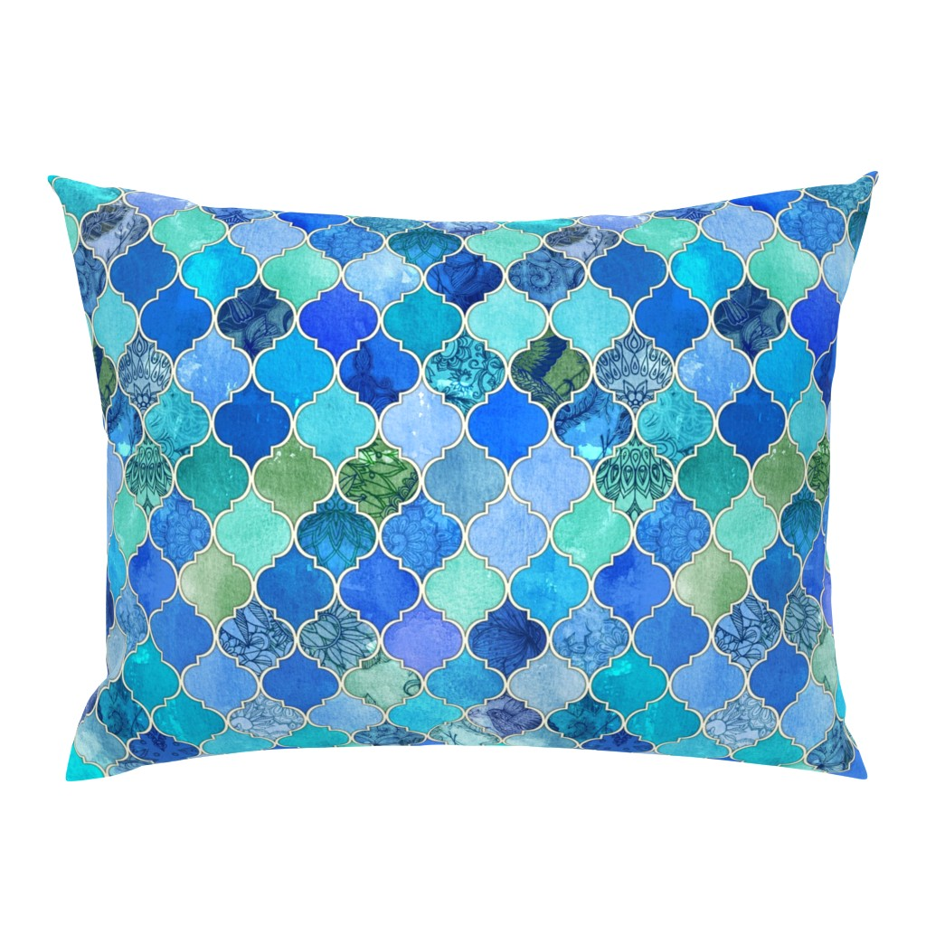 Campine Pillow Sham featuring Cobalt Blue and Aqua Decorative Moroccan Tiles by micklyn