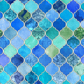 Cobalt Blue and Aqua Decorative Moroccan Tiles