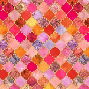 Hot Pink and Orange Decorative Moroccan Tiles