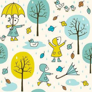Children on a rainy day