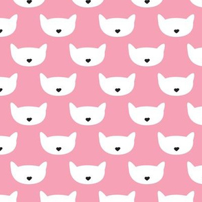 Adorable pink kitten fun cat illustration in scandinavian abstract style print for kids and cats lovers