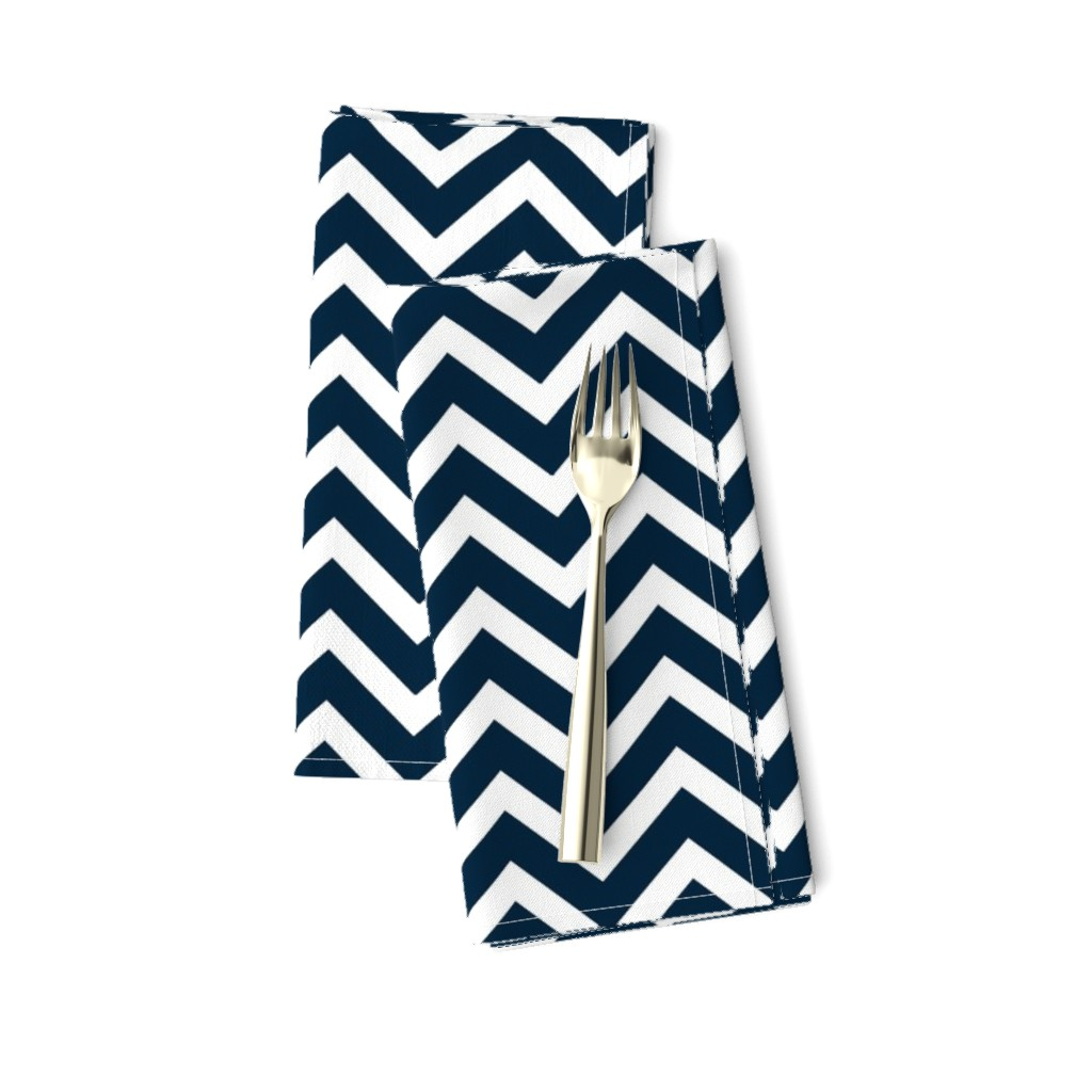 Amarela Dinner Napkins featuring  Chevron in Marine Navy and Seacap White Bands by paper_and_frill