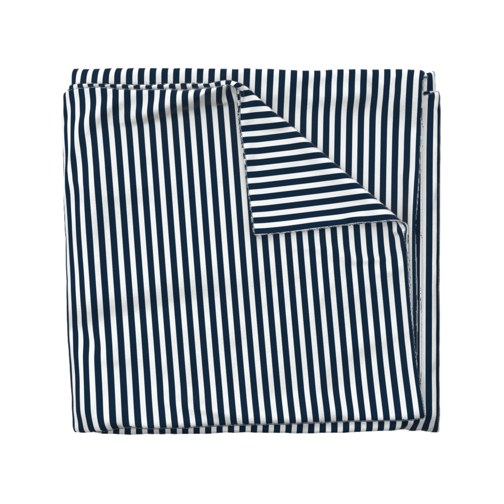 Wyandotte Duvet Cover featuring Navy and White Sailor Stripes by paper_and_frill