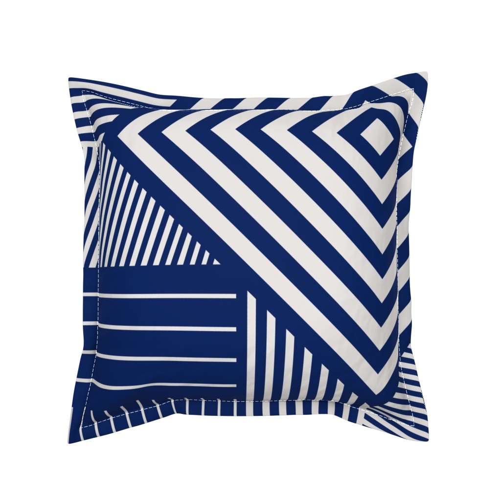 Serama Throw Pillow featuring Blue stripes by flowie
