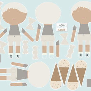 BOY Doll Fabric - TWINS - Gray