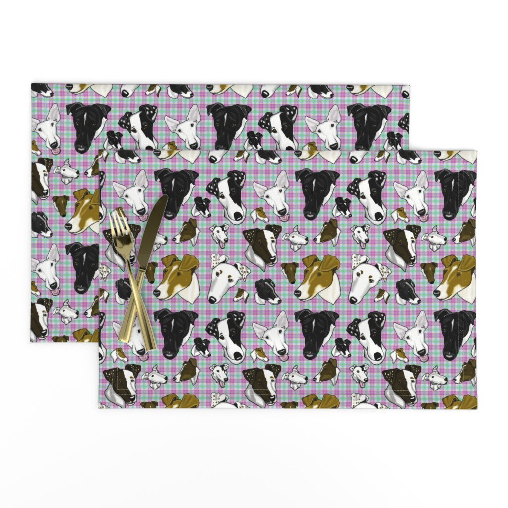 Lamona Cloth Placemats featuring Smooth Fox Terrier Large Pastel Plaid  by creativeworksstudios