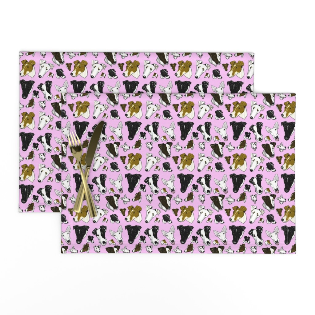 Lamona Cloth Placemats featuring Smooth Fox Terrier Fabrics In Pink TINY by creativeworksstudios