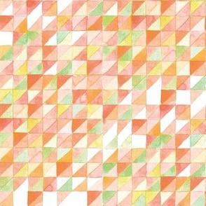 Watercolor Triangle Grid | Orange