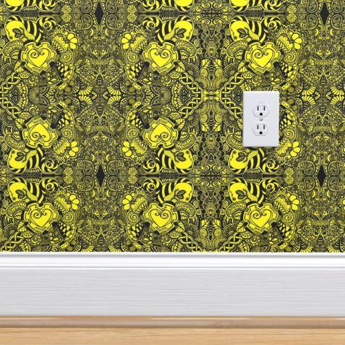 Wallpaper Black Yellow Heart Knots
