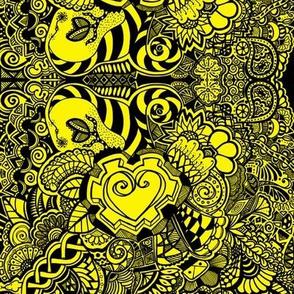 Black & Yellow Heart Knots