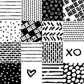 XO XO heart wholecloth – black white