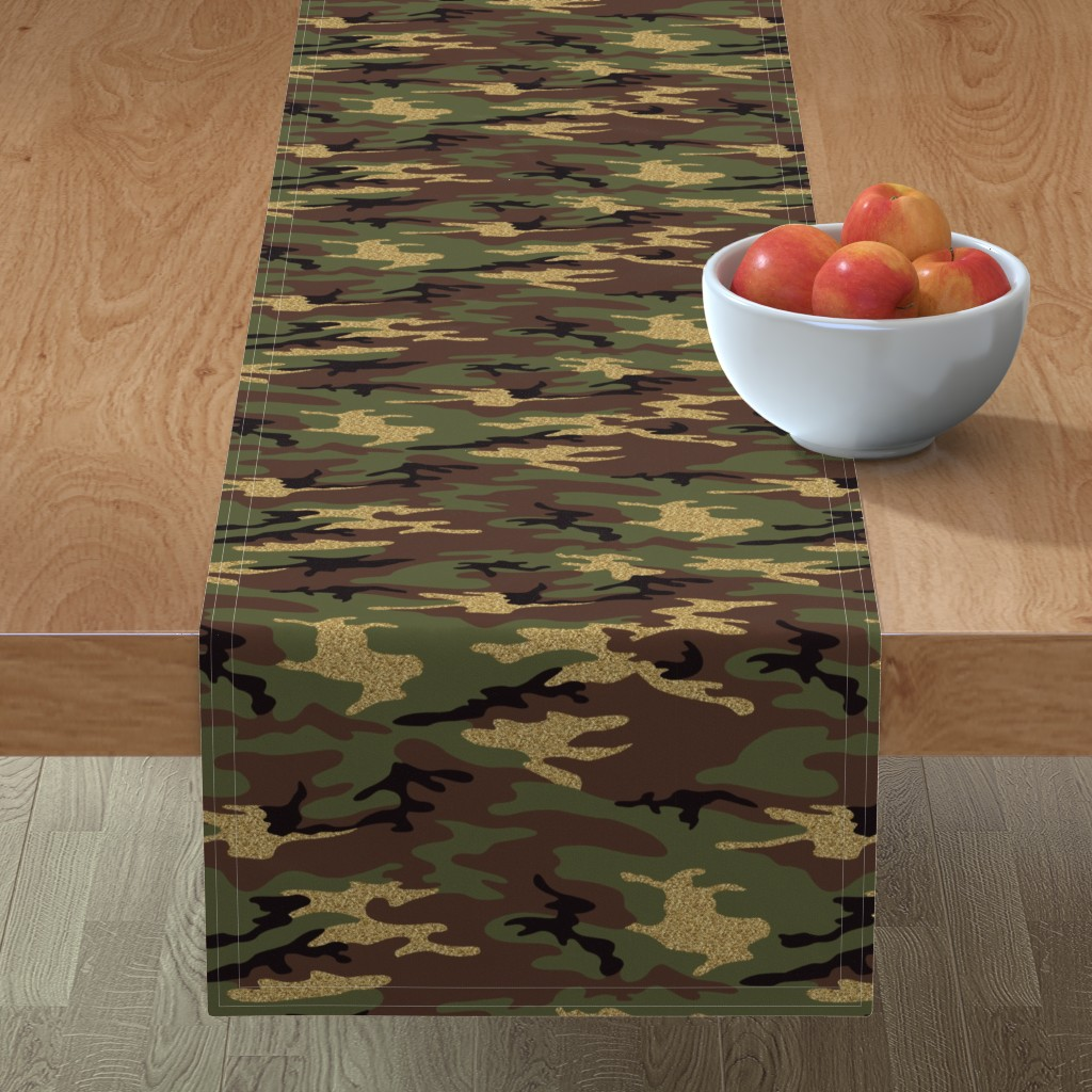 Minorca Table Runner featuring Glitter Woodland Camo 1 by ohdarkthirty