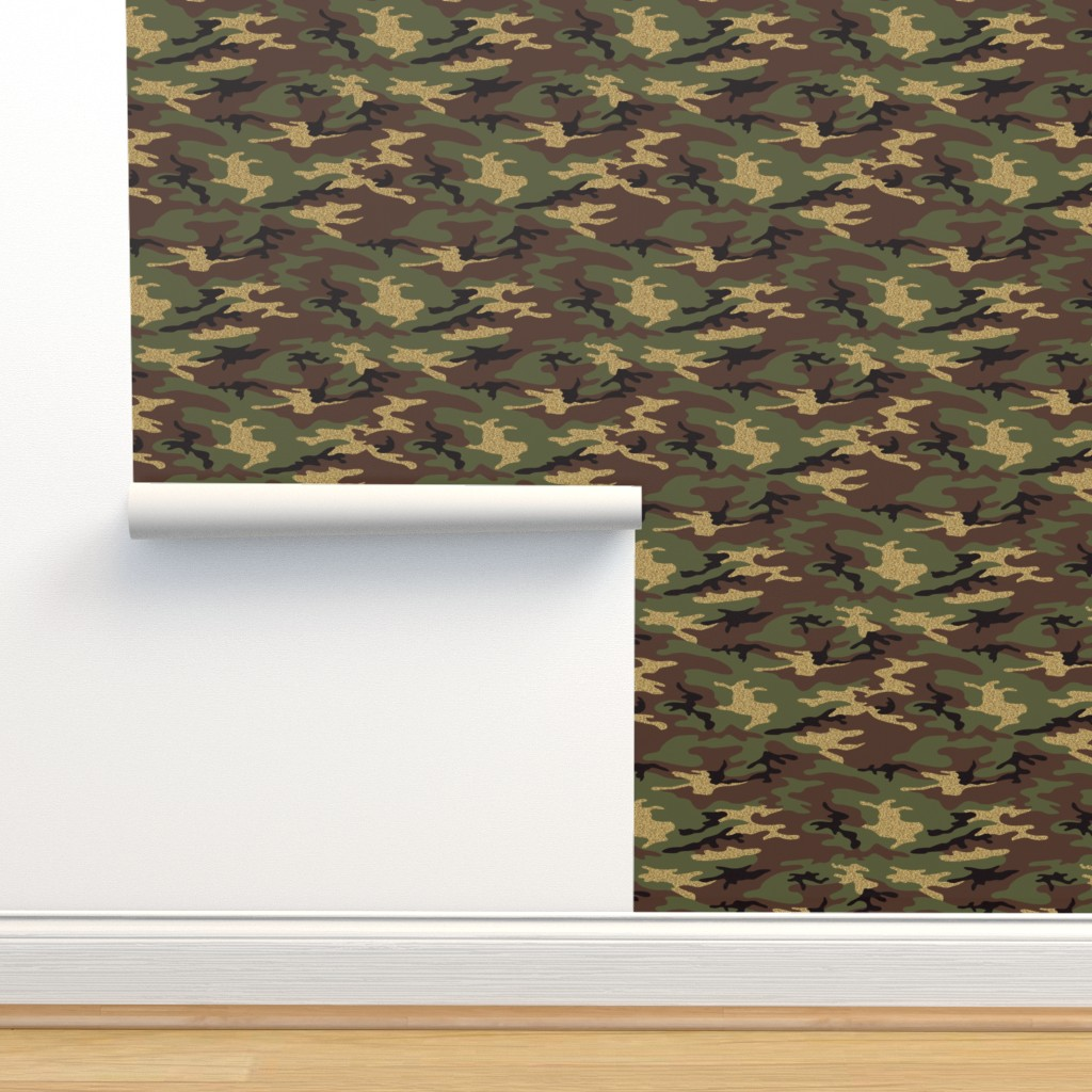 Isobar Durable Wallpaper featuring Glitter Woodland Camo 1 by ohdarkthirty