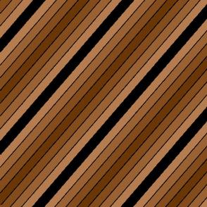 Diagonal brown stripes and a black stripe