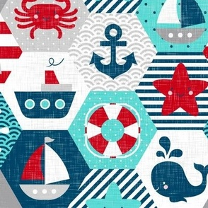 Nautical Baby Hexagonal Quilt Red Blue Grey White Linen Texture Large Scale