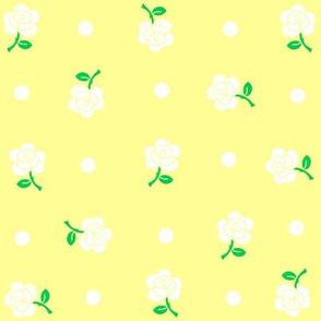 White rose & polka dot on yellow