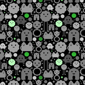 Monsters On the Loose - Black and Greens