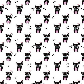 Cute black and white cats with pink violet color pops illustration print for kids