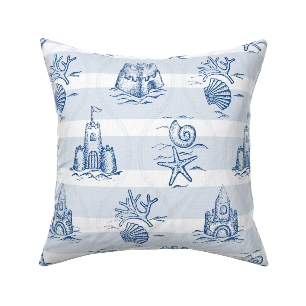Catalan Throw Pillow featuring Sandcastle Nautical a.m. by mia_valdez