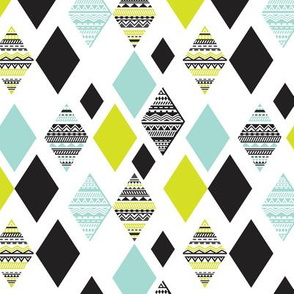 Aztec mint blue lime green yellow black and white geometric diamond fabric