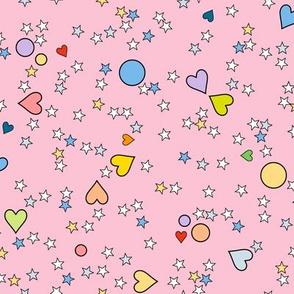 '80s to the Max (Pink) || retro pop art hearts stars scatter children kids baby nursery