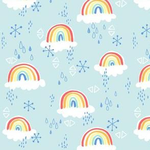 rainbows on blue - large