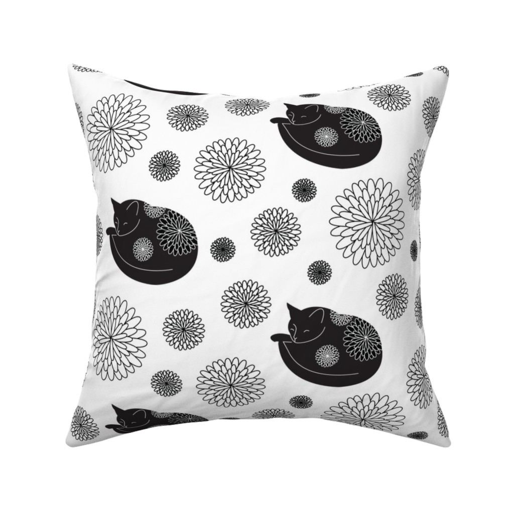 Catalan Throw Pillow featuring Cats in Bloom by lellobird