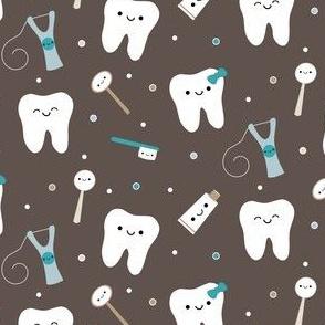 Happy Teeth & Friends - Brown & Teal