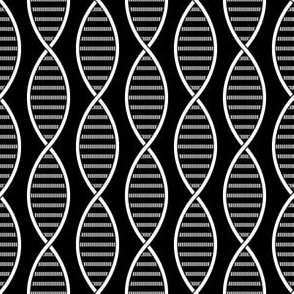 DNA Strands (Black and White)