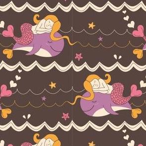 Sleeping mermaid - brown