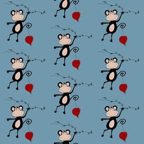 Monkey Hearts Blue